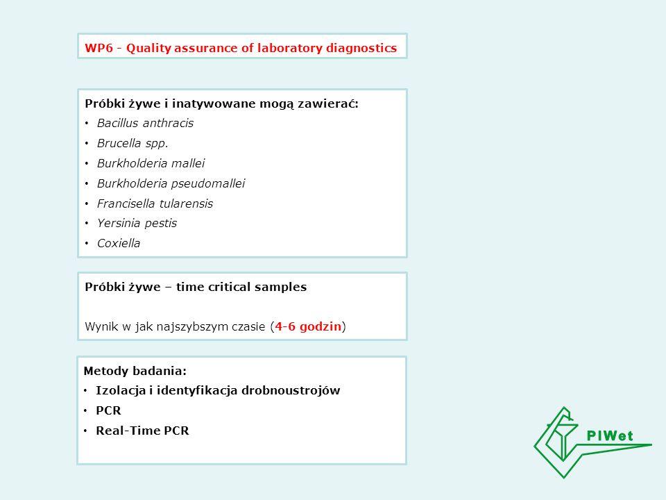 WP6 - Quality assurance of laboratory diagnostics Próbki żywe i inatywowane mogą zawierać: Bacillus anthracis Brucella spp.