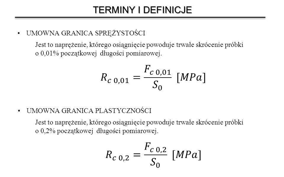 TERMINY I DEFINICJE UMOWNA GRANICA SPRĘŻYSTOŚCI Jest to naprężenie, którego osiągnięcie powoduje trwałe skrócenie próbki o 0,01% początkowej długości