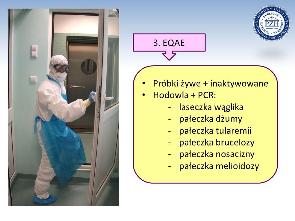 3. EQAE Próbki żywe + inaktywowane Hodowla + PCR: -laseczka wąglika -pałeczka dżumy -pałeczka tularemii -pałeczka brucelozy -pałeczka nosacizny -pałec