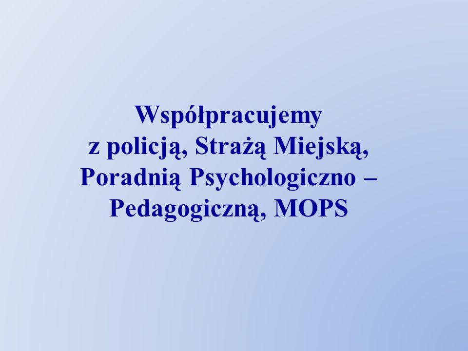 Współpracujemy z policją, Strażą Miejską, Poradnią Psychologiczno – Pedagogiczną, MOPS