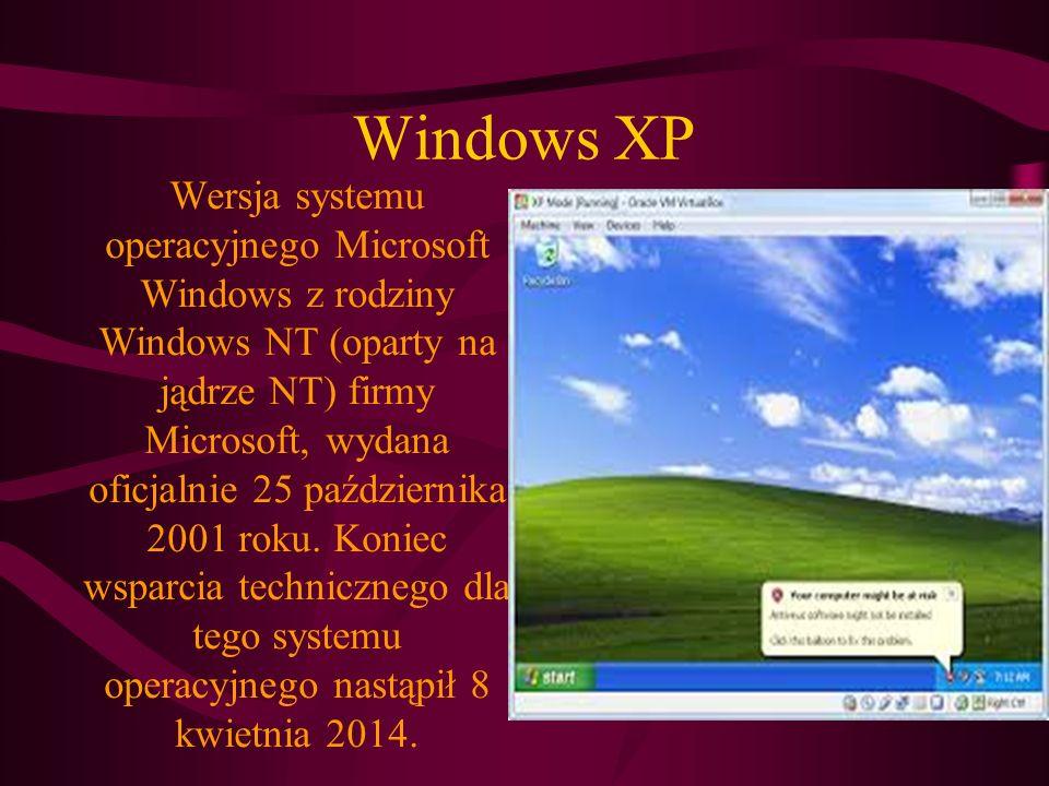 Windows XP Wersja systemu operacyjnego Microsoft Windows z rodziny Windows NT (oparty na jądrze NT) firmy Microsoft, wydana oficjalnie 25 października 2001 roku.