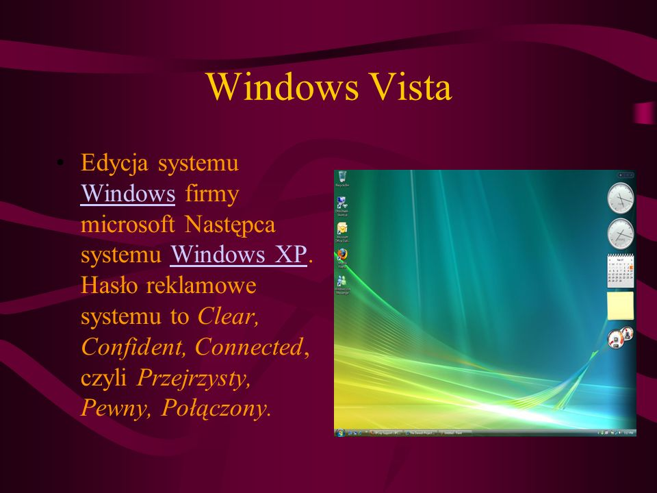 Windows Vista Edycja systemu Windows firmy microsoft Następca systemu Windows XP.