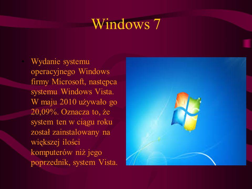 Windows 7 Wydanie systemu operacyjnego Windows firmy Microsoft, następca systemu Windows Vista.