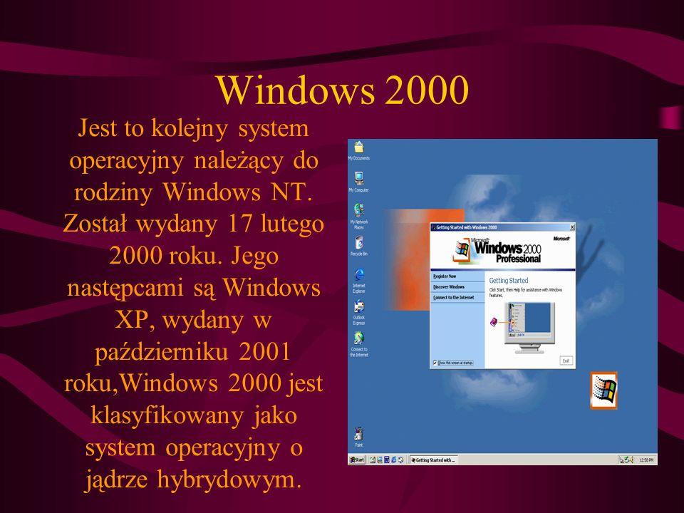 Windows 2000 Jest to kolejny system operacyjny należący do rodziny Windows NT.