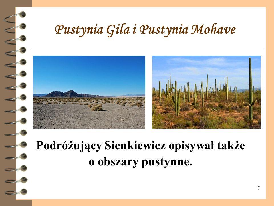 7 Pustynia Gila i Pustynia Mohave Podróżujący Sienkiewicz opisywał także o obszary pustynne.
