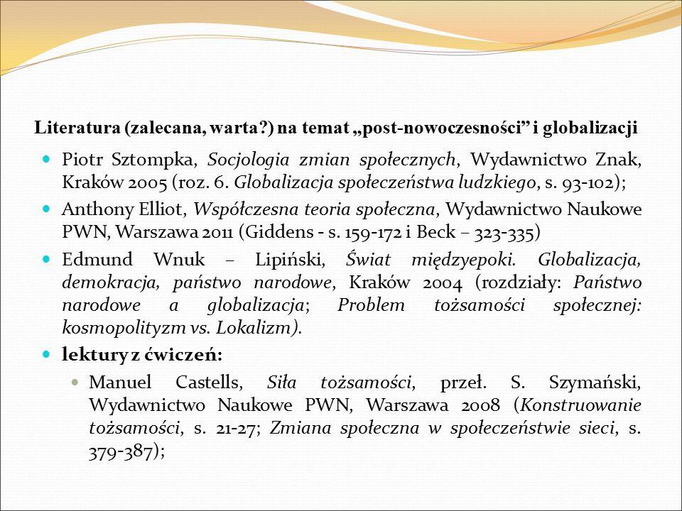 """Literatura (zalecana, warta ) na temat """"post-nowoczesności i globalizacji Piotr Sztompka, Socjologia zmian społecznych, Wydawnictwo Znak, Kraków 2005 (roz."""