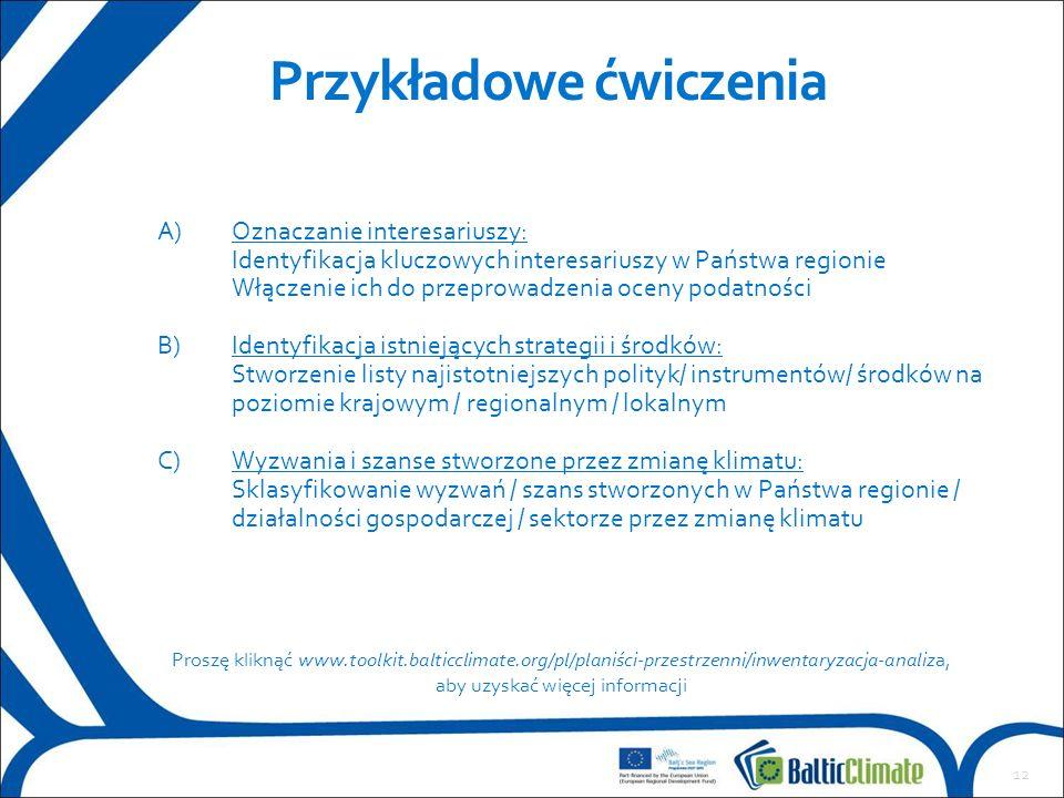12 Przykładowe ćwiczenia A)Oznaczanie interesariuszy: Identyfikacja kluczowych interesariuszy w Państwa regionie Włączenie ich do przeprowadzenia ocen