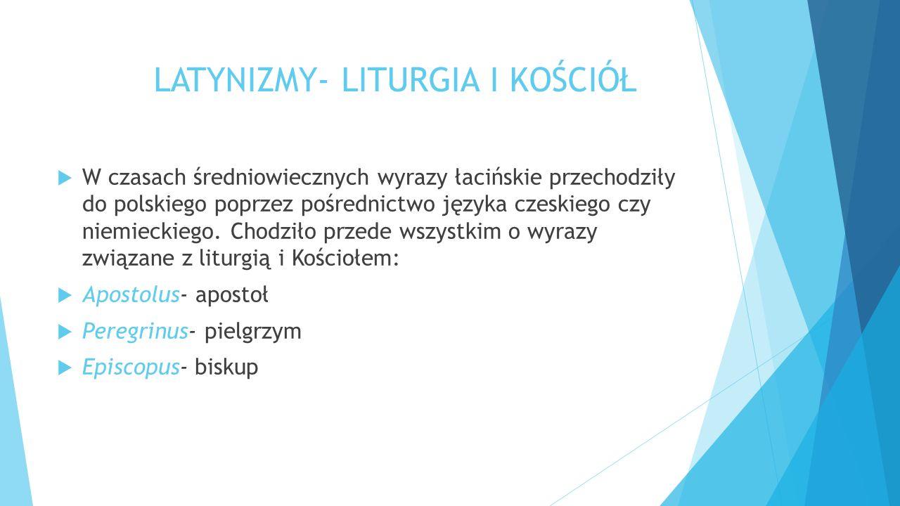 LATYNIZMY- LITURGIA I KOŚCIÓŁ  W czasach średniowiecznych wyrazy łacińskie przechodziły do polskiego poprzez pośrednictwo języka czeskiego czy niemieckiego.