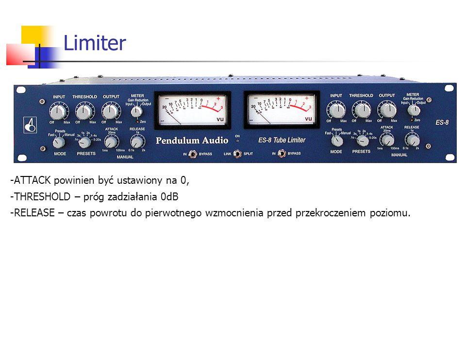Limiter -ATTACK powinien być ustawiony na 0, -THRESHOLD – próg zadziałania 0dB -RELEASE – czas powrotu do pierwotnego wzmocnienia przed przekroczeniem poziomu.
