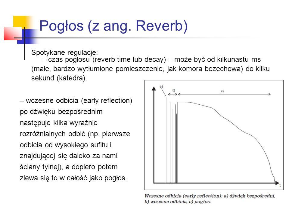 Spotykane regulacje: – czas pogłosu (reverb time lub decay) – może być od kilkunastu ms (małe, bardzo wytłumione pomieszczenie, jak komora bezechowa) do kilku sekund (katedra).