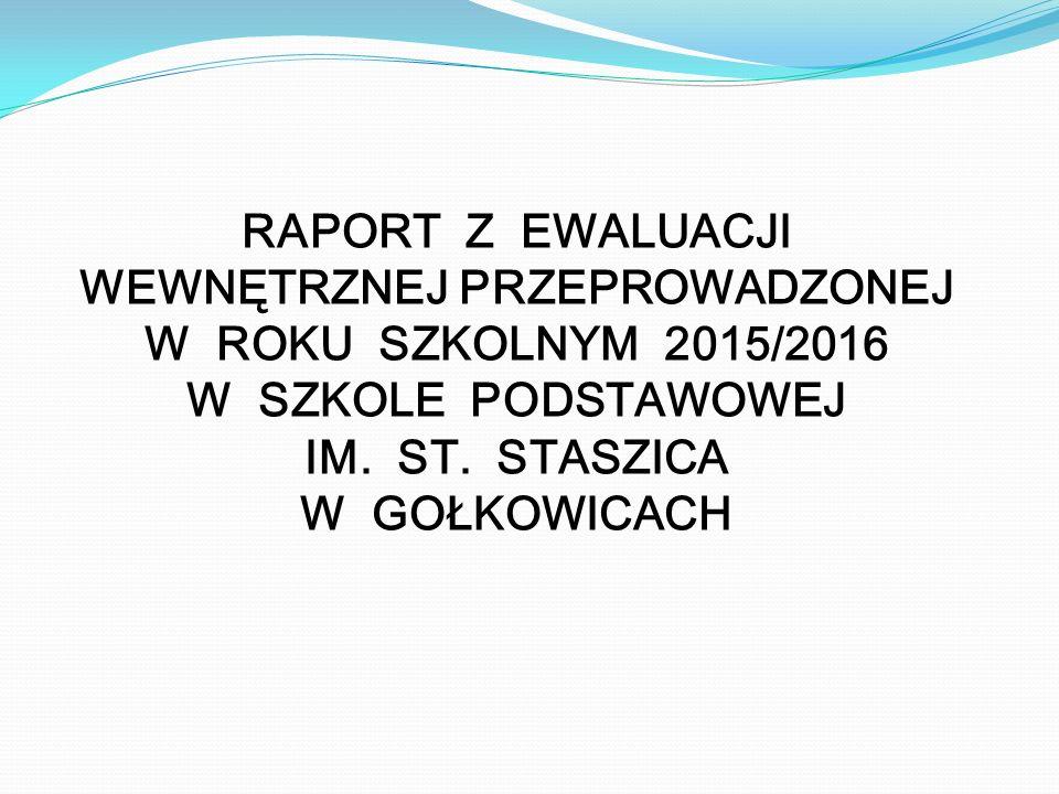 RAPORT Z EWALUACJI WEWNĘTRZNEJ PRZEPROWADZONEJ W ROKU SZKOLNYM 2015/2016 W SZKOLE PODSTAWOWEJ IM.