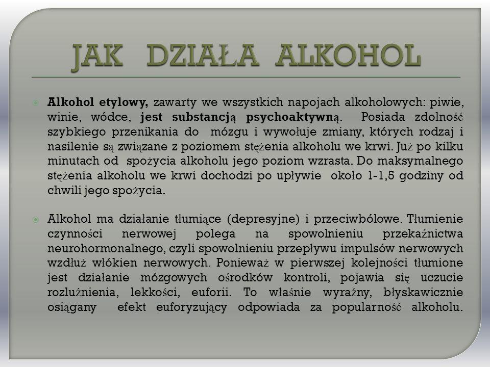  Alkohol etylowy, zawarty we wszystkich napojach alkoholowych: piwie, winie, wódce, jest substancj ą psychoaktywn ą.