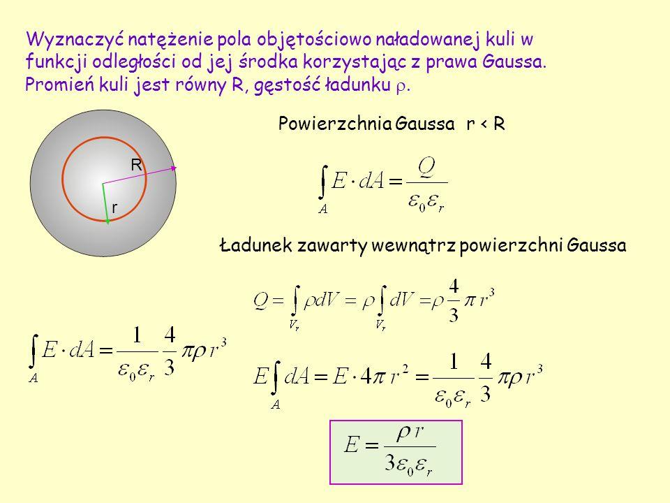 Wyznaczyć natężenie pola objętościowo naładowanej kuli w funkcji odległości od jej środka korzystając z prawa Gaussa. Promień kuli jest równy R, gęsto