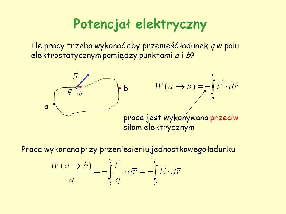 Potencjał elektryczny Ile pracy trzeba wykonać aby przenieść ładunek q w polu elektrostatycznym pomiędzy punktami a i b? a b q praca jest wykonywana p