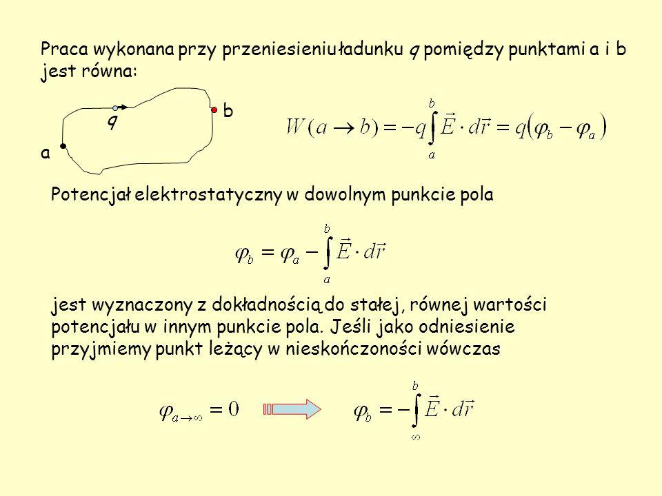 Potencjał elektrostatyczny w dowolnym punkcie pola jest wyznaczony z dokładnością do stałej, równej wartości potencjału w innym punkcie pola. Jeśli ja