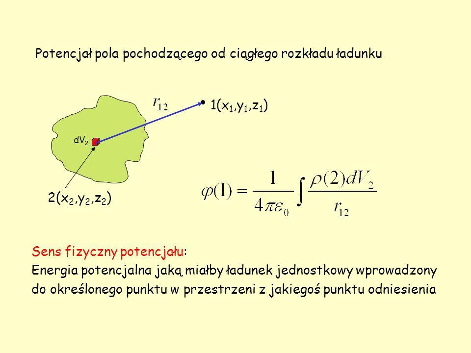 1(x 1,y 1,z 1 ) 2(x 2,y 2,z 2 ) dV 2 Potencjał pola pochodzącego od ciągłego rozkładu ładunku Sens fizyczny potencjału: Energia potencjalna jaką miałb