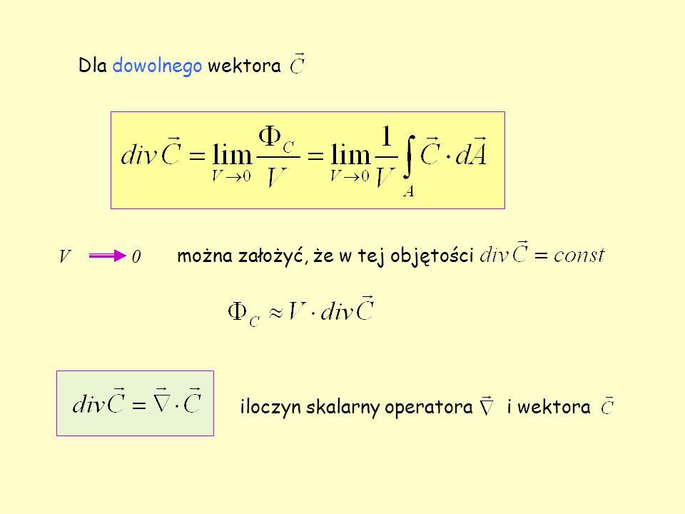 Dla dowolnego wektora V 0 można założyć, że w tej objętości iloczyn skalarny operatora i wektora
