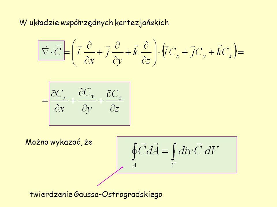W układzie współrzędnych kartezjańskich Można wykazać, że twierdzenie Gaussa-Ostrogradskiego