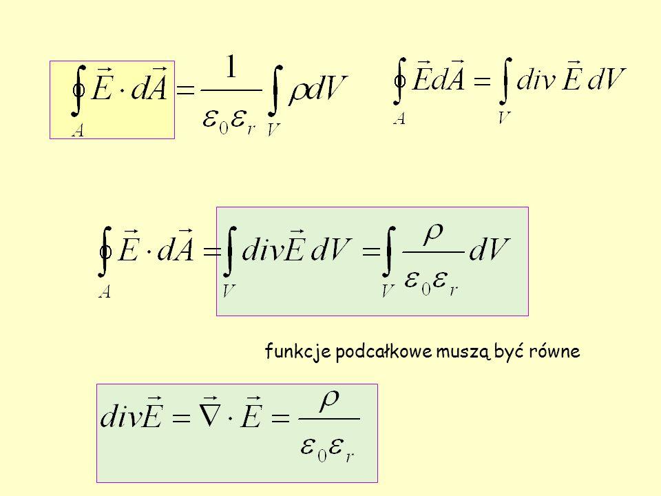 funkcje podcałkowe muszą być równe