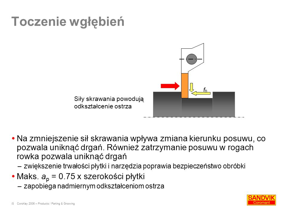 /8 Toczenie wgłębień  Na zmniejszenie sił skrawania wpływa zmiana kierunku posuwu, co pozwala uniknąć drgań. Również zatrzymanie posuwu w rogach rowk