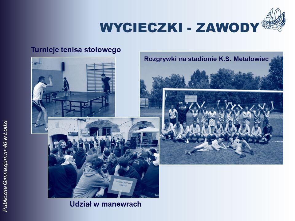 Rozgrywki na stadionie K.S. Metalowiec Udział w manewrach Publiczne Gimnazjum nr 40 w Łodzi Turnieje tenisa stołowego WYCIECZKI - ZAWODY