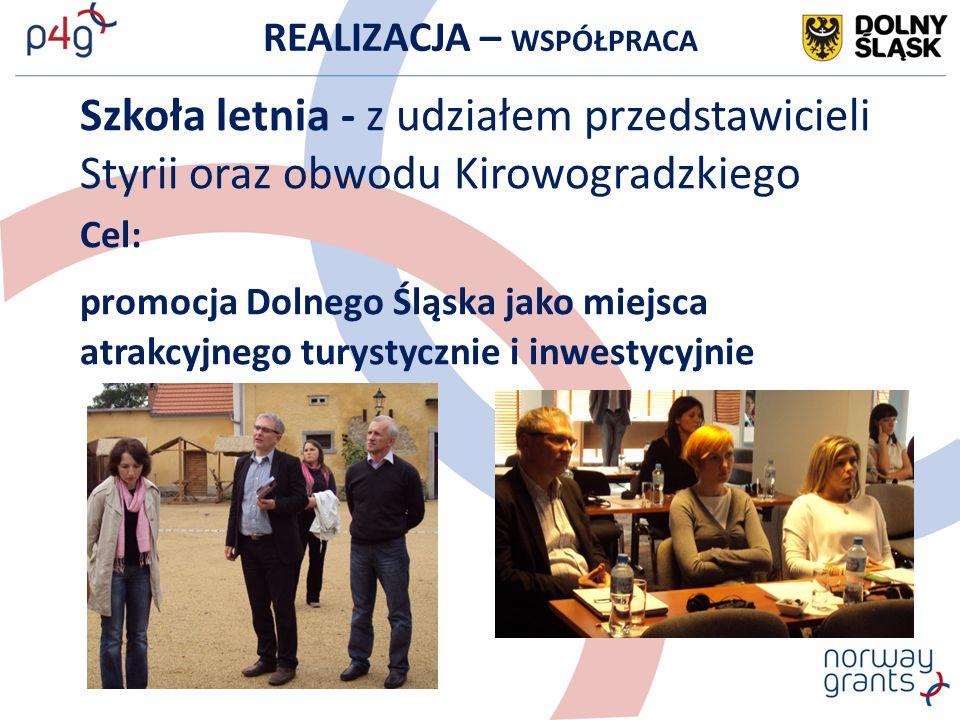 REALIZACJA – WSPÓŁPRACA Szkoła letnia - z udziałem przedstawicieli Styrii oraz obwodu Kirowogradzkiego Cel: promocja Dolnego Śląska jako miejsca atrak