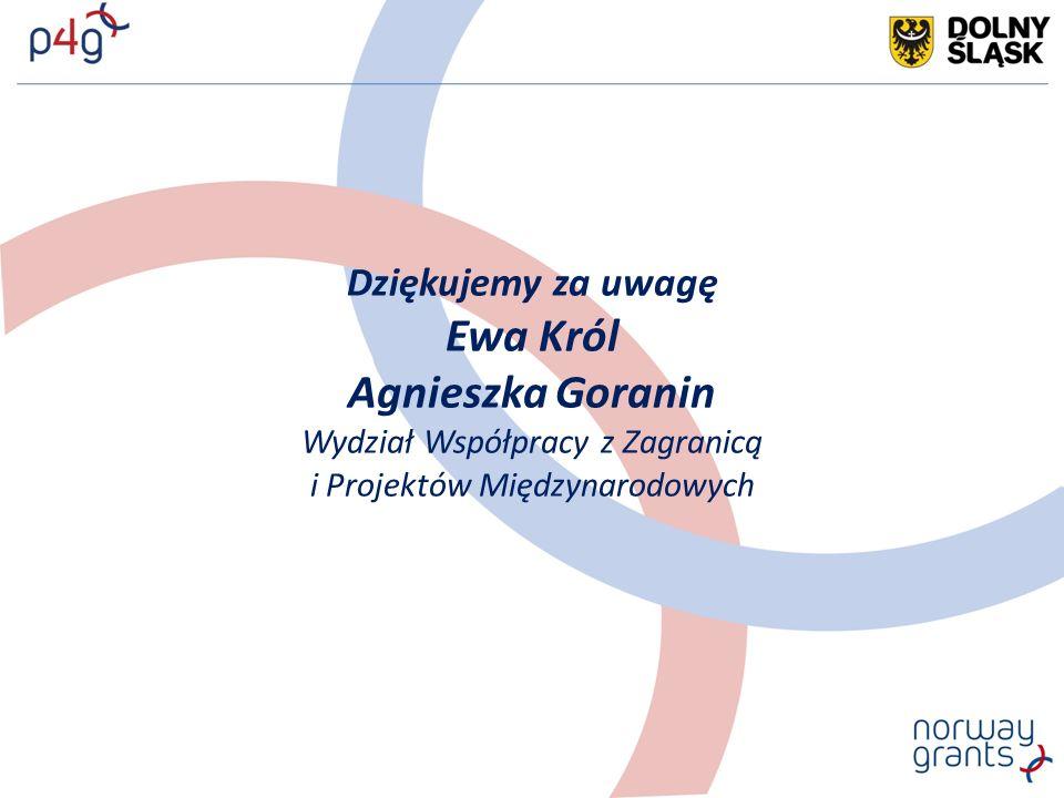 Dziękujemy za uwagę Ewa Król Agnieszka Goranin Wydział Współpracy z Zagranicą i Projektów Międzynarodowych