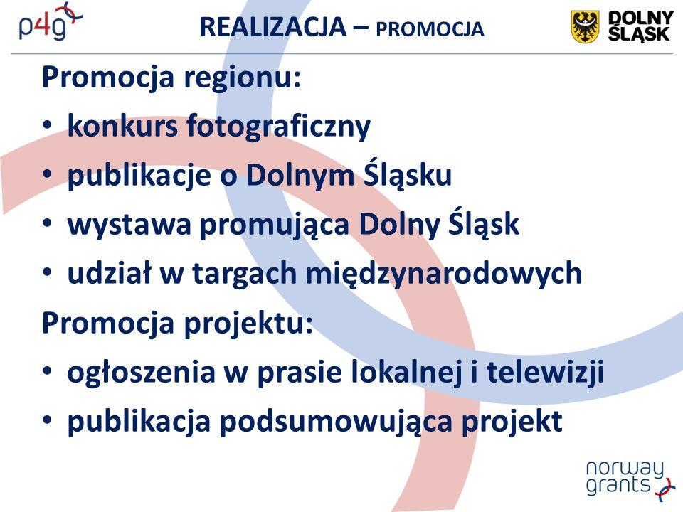 REALIZACJA – PROMOCJA Promocja regionu: konkurs fotograficzny publikacje o Dolnym Śląsku wystawa promująca Dolny Śląsk udział w targach międzynarodowych Promocja projektu: ogłoszenia w prasie lokalnej i telewizji publikacja podsumowująca projekt