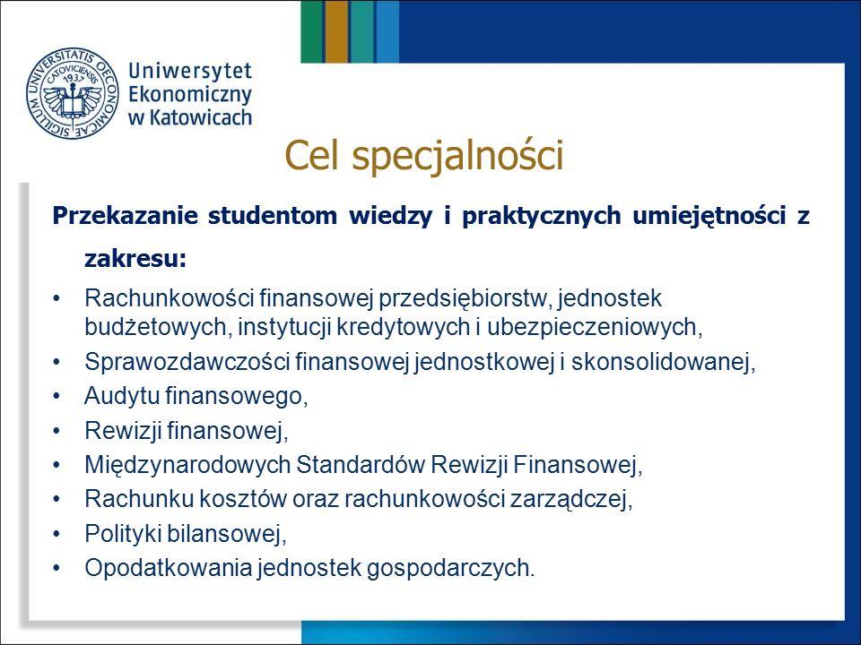 Przekazanie studentom wiedzy i praktycznych umiejętności z zakresu: Rachunkowości finansowej przedsiębiorstw, jednostek budżetowych, instytucji kredyt