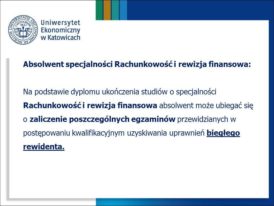 Absolwent specjalności Rachunkowość i rewizja finansowa: Na podstawie dyplomu ukończenia studiów o specjalności Rachunkowość i rewizja finansowa absol