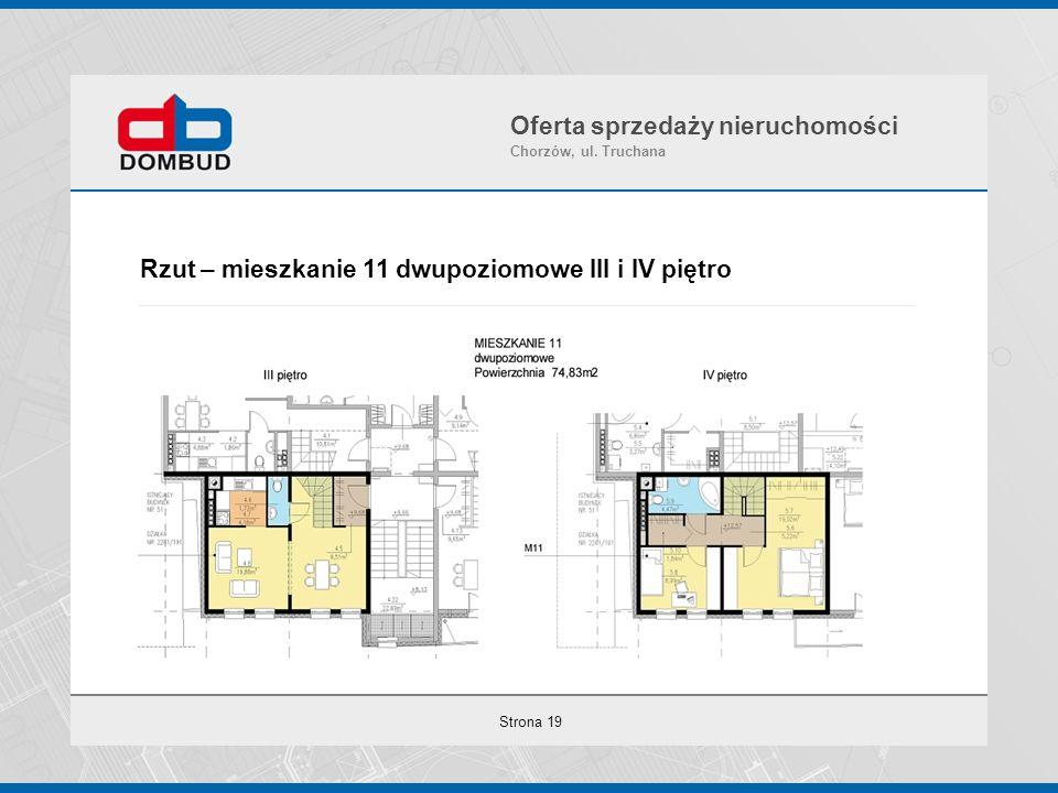 Strona 19 Rzut – mieszkanie 11 dwupoziomowe III i IV piętro Oferta sprzedaży nieruchomości Chorzów, ul. Truchana