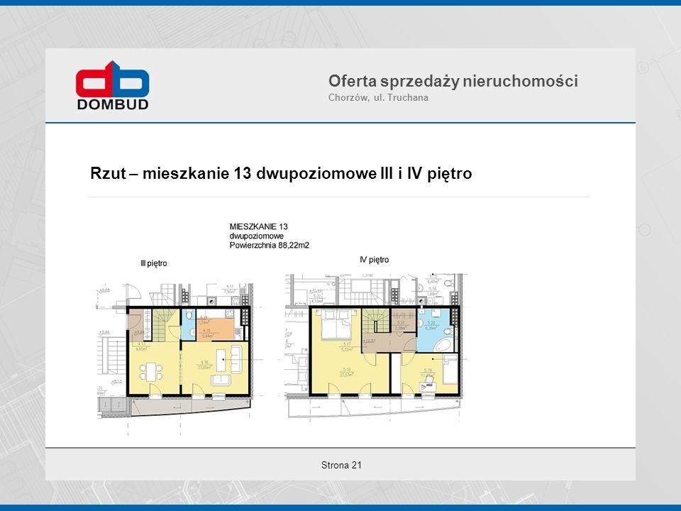 Strona 21 Rzut – mieszkanie 13 dwupoziomowe III i IV piętro Oferta sprzedaży nieruchomości Chorzów, ul. Truchana