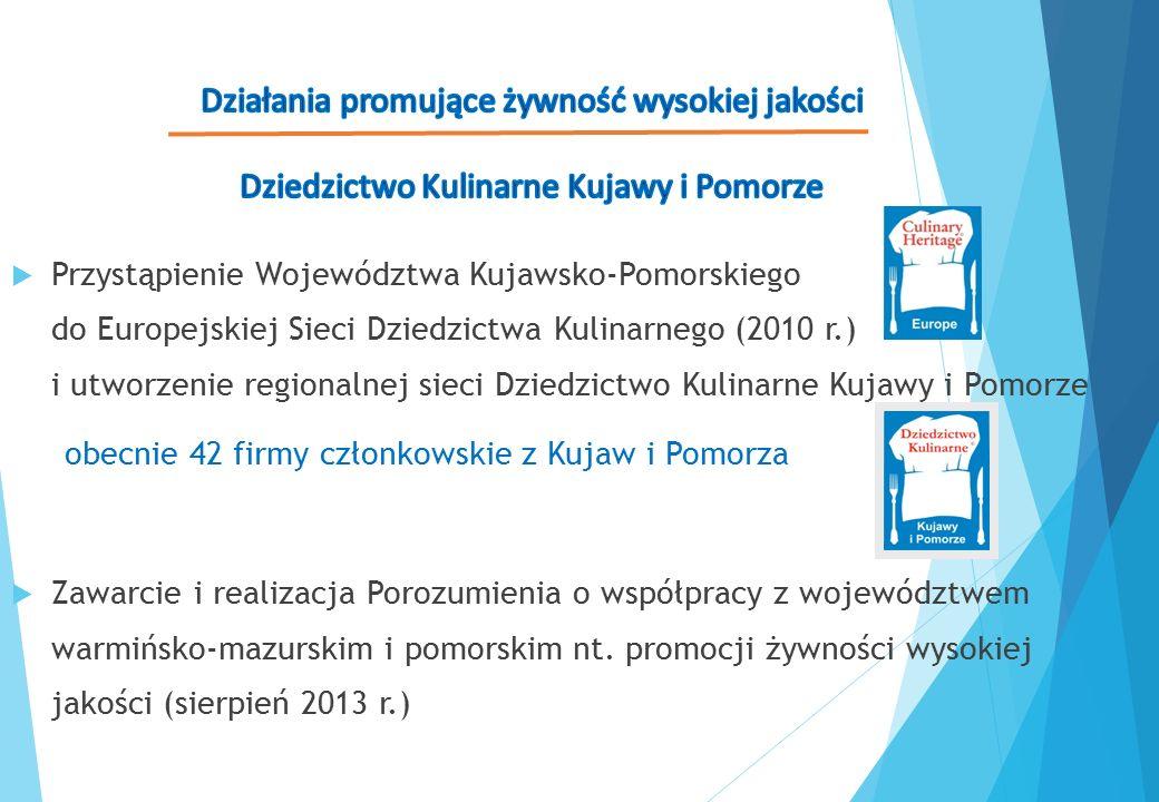  Przystąpienie Województwa Kujawsko-Pomorskiego do Europejskiej Sieci Dziedzictwa Kulinarnego (2010 r.) i utworzenie regionalnej sieci Dziedzictwo Ku