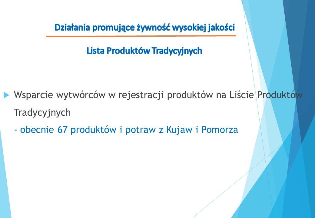  Wsparcie wytwórców w rejestracji produktów na Liście Produktów Tradycyjnych - obecnie 67 produktów i potraw z Kujaw i Pomorza