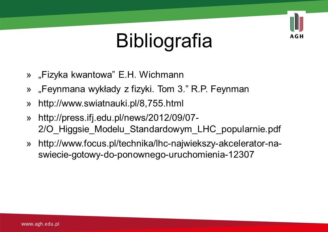 """Bibliografia »""""Fizyka kwantowa E.H. Wichmann »""""Feynmana wykłady z fizyki."""