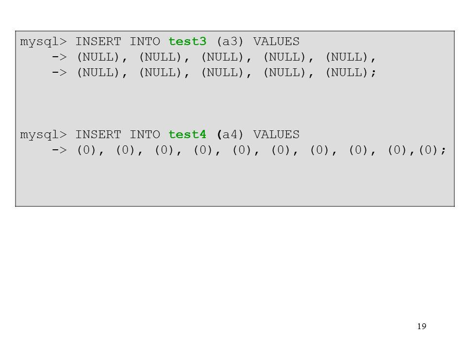19 mysql> INSERT INTO test3 (a3) VALUES -> (NULL), (NULL), (NULL), (NULL), (NULL), -> (NULL), (NULL), (NULL), (NULL), (NULL); mysql> INSERT INTO test4