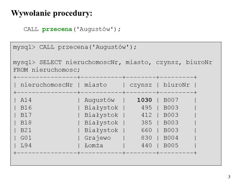 34 Przykład z zakleszczeniem: mysql> DROP TABLE test; mysql> CREATE TABLE test (id INT PRIMARY KEY) ENGINE = InnoDB; mysql> INSERT INTO test VALUES (1), (2); mysql> COMMIT; mysql> select * from test; +----+ | id | +----+ | 1 | | 2 | +----+ --------------- | SESJA A | --------------- --------------- | SESJA B | --------------- mysql> SET AUTOCOMMIT = 0; mysql> START TRANSACTION; mysql> UPDATE test SET id=10 WHERE id=1; mysql> UPDATE test SET id=20 WHERE id=2;