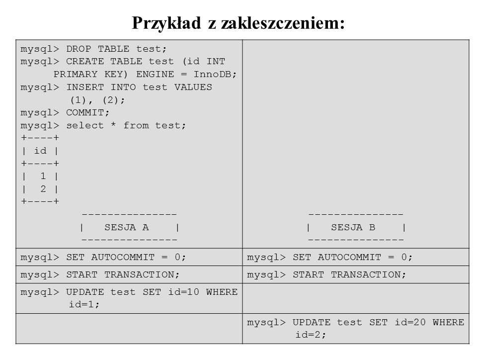 34 Przykład z zakleszczeniem: mysql> DROP TABLE test; mysql> CREATE TABLE test (id INT PRIMARY KEY) ENGINE = InnoDB; mysql> INSERT INTO test VALUES (1), (2); mysql> COMMIT; mysql> select * from test; +----+ | id | +----+ | 1 | | 2 | +----+ --------------- | SESJA A | --------------- --------------- | SESJA B | --------------- mysql> SET AUTOCOMMIT = 0; mysql> START TRANSACTION; mysql> UPDATE test SET id=10 WHERE id=1; mysql> UPDATE test SET id=20 WHERE id=2;