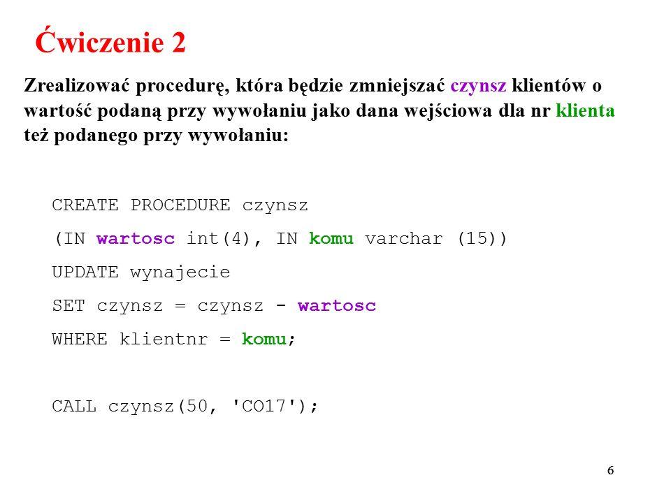 47 Informacje z komentarzami dla tabel bazy biuro : mysql> SELECT table_schema, table_name, table_comment FROM information_schema.tables WHERE TABLE_SCHEMA= biuro ; +--------------+----------------+---------------+ | TABLE_SCHEMA | TABLE_NAME | TABLE_COMMENT | +--------------+----------------+---------------+ | biuro | _10_dyrektorzy | VIEW | | biuro | _10_full | VIEW | | biuro | _11_biuro_b003 | VIEW | | biuro | biuro | | | biuro | biuro2 | | | biuro | klient | | | biuro | nieruchomosc | | | biuro | nieruchomosc2 | | | biuro | personel | | | biuro | rejestracja | | | biuro | test1 | | | biuro | test2 | | | biuro | test3 | | | biuro | test4 | | | biuro | v1 | VIEW | | biuro | v2 | VIEW | | biuro | v3 | VIEW | | biuro | wizyta | | | biuro | wlasciciel | | | biuro | wynajecie | | +--------------+----------------+---------------+ 20 rows in set (0.03 sec)