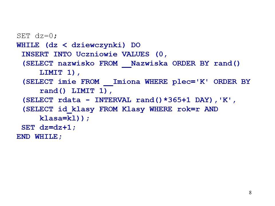 39 mysql> UPDATE test SET id=20 WHERE id=2; ERROR 1205 (HY000): Lock wait timeout exceeded; try restarting transaction --------------------------------- - przekroczony czas oczekiwania – --------------------------------- mysql> UPDATE test SET id=20 WHERE id=2; Query OK, 1 row affected (21.44 sec)Rows matched: 1 Changed: 1 Warnings: 0 mysql> UPDATE test SET id=10 WHERE id=1; ERROR 1205 (HY000): Lock wait timeout exceeded; try restarting transaction --------------------------------- - przekroczony czas oczekiwania - --------------------------------- mysql> SELECT * FROM test; +----+ | id | +----+ | 10 | | 20 | +----+