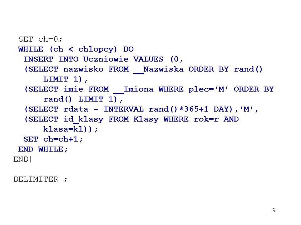 10 Nazwiska: CREATE TABLE __Nazwiska ( id_nazwiska INT UNSIGNED NOT NULL auto_increment, nazwisko char(30) NOT NULL, UNIQUE id(id_nazwiska), PRIMARY KEY (id_nazwiska) ); INSERT INTO __Nazwiska VALUES (0, Ancypo ),(0, Arciuch ),(0, Awdziej ),(0, Chwiedzko ),(0, Cychowska ), (0, Czaplejewicz ),(0, Filonowicz ),(0, Filon ),(0, Kuzbiel ),(0, Gryszkiewicz ), (0, Jackiewicz ),(0, Jurgiel ),(0, Kazimierowicz ),(0, Kostera ),(0, Kostro ), (0, Nowak ),(0, Krawiel ),(0, Krupowicz ),(0, Mizer ),(0, Mrozowicz ), (0, Mucus ),(0, Niedzwiedz ),(0, Ostasiewicz ),(0, Surowiec ),(0, Anisko ), (0, Antoniuk ),(0, Borowik ),(0, Chodziutko ),(0, Gieniusz ),(0, Grygucis ), (0, Gryszko ),(0, Jurgiel ),(0, Karpowicz ),(0, Kargul ),(0, Pawlak ), (0, Marcinkiewicz ),(0, Miller ),(0, Sidor ),(0, Siemianczuk ),(0, Misiukiewicz ), (0, Szymczyk ),(0, Taudul ),(0, Zapolnik ),(0, Klej ),(0, Kucharewicz ), (0, Chlus ),(0, Cilulko ),(0, Puszko ),(0, Loszczyk ),(0, Makarewicz ), (0, Solniczek ),(0, Szczesnowicz ),(0, Szyszko ),(0, Werda ),(0, Sietejko ), (0, Sawon ),(0, Smola ),(0, Sloma ),(0, Sacharczuk ),(0, Miszkin ), (0, Baszko ),(0, Bilkiewicz ),(0, Czaplejewicz ),(0, Osial ),(0, Borys ), (0, Salak ),(0, Zajczyk ),(0, Lazarewicz ),(0, Rudnik ),(0, Recko ), (0, Szczesiul ),(0, Luba ),(0, Mroczko ),(0, Abramowicz ),(0, Beczko ), (0, Bleczko ),(0, Butkiewicz ),(0, Daszkilewicz ),(0, Galuzyn ),(0, Gryc ), (0, Gudel ),(0, Toczko ),(0, Malkiewicz ),(0, Potapa ),(0, Pupek ), (0, Prycz ),(0, Koleda ),(0, Gniedziejko ),(0, Juchniewicz ),(0, Lengiewicz ), (0, Turko ),(0, Kulak ),(0, Dudziuk ),(0, Trochanowicz ),(0, Stefanczuk ), (0, Lopata ),(0, Loskot ),(0, Matuk ),(0, Kijek ),(0, Woronko ), (0, Romanowicz ),(0, Pylko ),(0, Misarko ),(0, Waluszko ),(0, Toloczko ), (0, Pigiel ),(0, Stupak ),(0, Zdanuk ),(0, Mackiewicz ),(0, Hecman ) ;