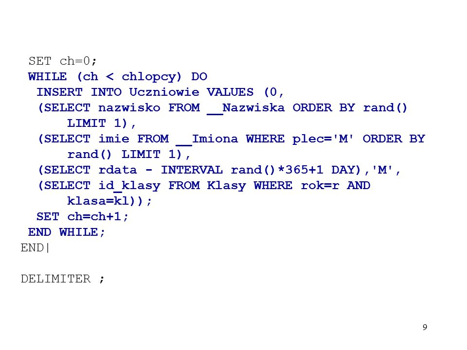 50 Informacje o schematach : mysql> SELECT catalog_name, schema_name, default_character_set_name, default_collation_name FROM information_schema.schemata; +--------------+-------------------+---------------------------+-----------------------+ | catalog_name | schema_name | default_character_set_name| default_collation_name| +--------------+-------------------+---------------------------+-----------------------+ | NULL | information_schema| utf8 | utf8_general_ci | | NULL | biuro | utf8 | utf8_polish_ci | | NULL | mysql | utf8 | utf8_general_ci | | NULL | szkola | utf8 | utf8_polish_ci | +--------------+-------------------+---------------------------+-----------------------+ 4 rows in set (0.02 sec)