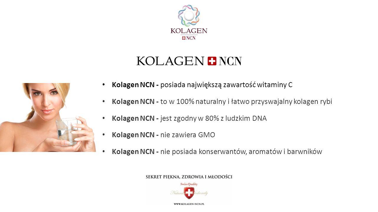 Kolagen NCN - posiada największą zawartość witaminy C Kolagen NCN - to w 100% naturalny i łatwo przyswajalny kolagen rybi Kolagen NCN - jest zgodny w 80% z ludzkim DNA Kolagen NCN - nie zawiera GMO Kolagen NCN - nie posiada konserwantów, aromatów i barwników