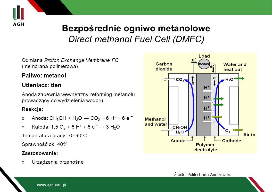 Bezpośrednie ogniwo metanolowe Direct methanol Fuel Cell (DMFC) Odmiana Proton Exchange Membrane FC (membrana polimerowa) Paliwo: metanol Utleniacz: t