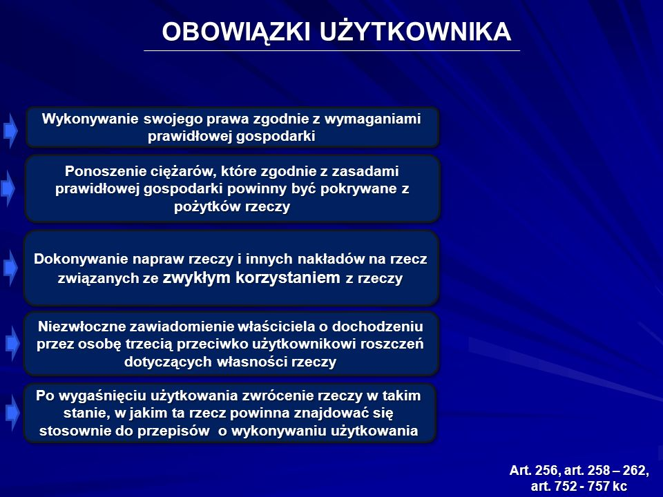 OBOWIĄZKI UŻYTKOWNIKA Art. 256, art. 258 – 262, art.