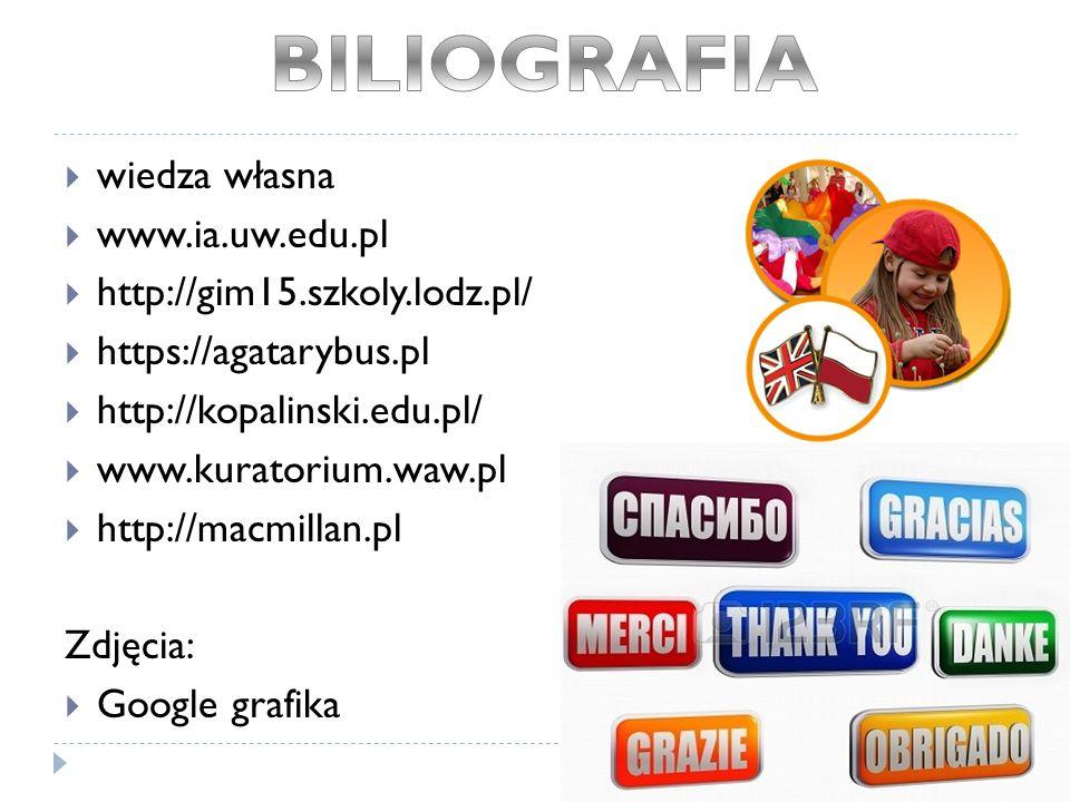  wiedza własna  www.ia.uw.edu.pl  http://gim15.szkoly.lodz.pl/  https://agatarybus.pl  http://kopalinski.edu.pl/  www.kuratorium.waw.pl  http://macmillan.pl Zdjęcia:  Google grafika