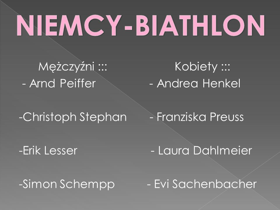 Mężczyźni ::: Kobiety ::: - Arnd Peiffer - Andrea Henkel -Christoph Stephan - Franziska Preuss -Erik Lesser - Laura Dahlmeier -Simon Schempp - Evi Sachenbacher