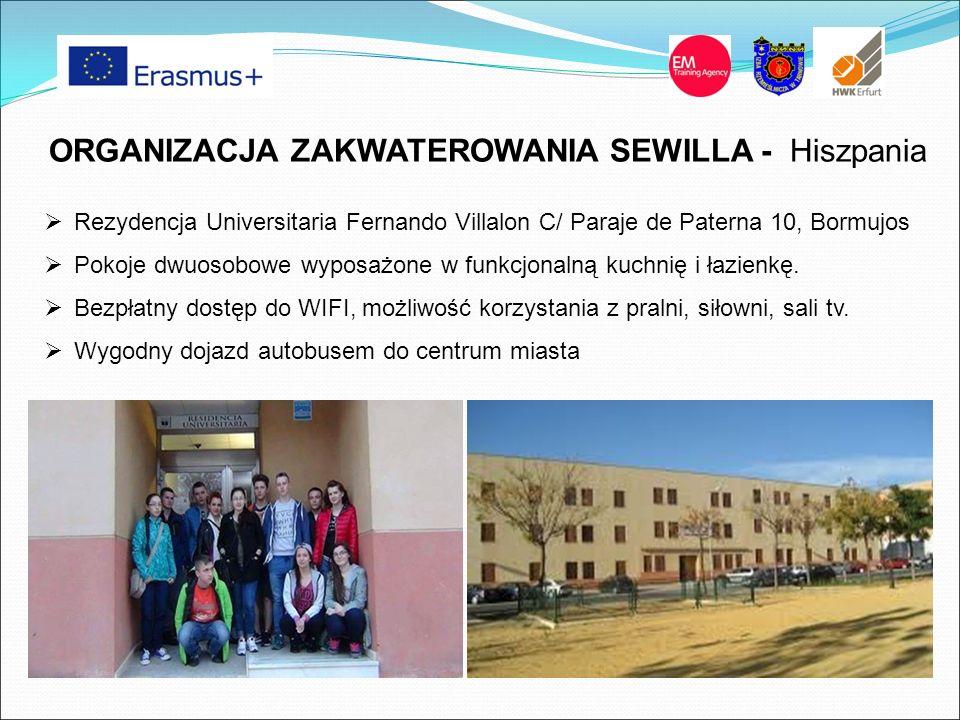 ORGANIZACJA ZAKWATEROWANIA SEWILLA - Hiszpania  Rezydencja Universitaria Fernando Villalon C/ Paraje de Paterna 10, Bormujos  Pokoje dwuosobowe wypo