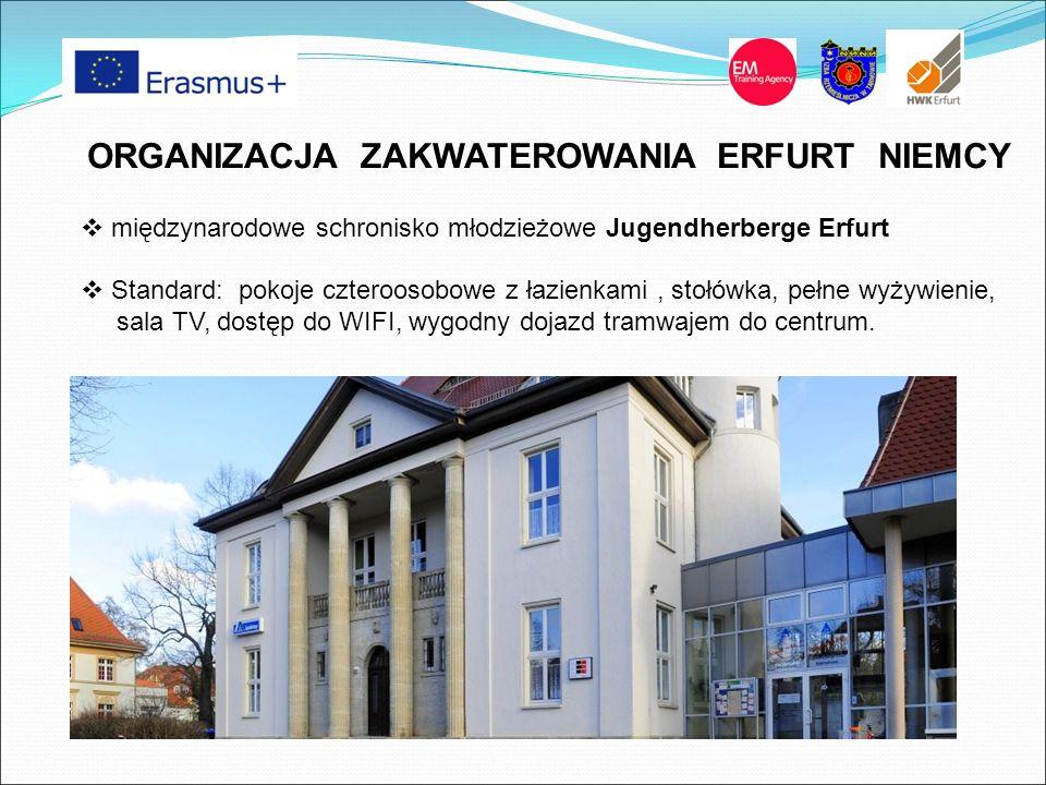 ORGANIZACJA ZAKWATEROWANIA ERFURT NIEMCY  międzynarodowe schronisko młodzieżowe Jugendherberge Erfurt  Standard: pokoje czteroosobowe z łazienkami, stołówka, pełne wyżywienie, sala TV, dostęp do WIFI, wygodny dojazd tramwajem do centrum.