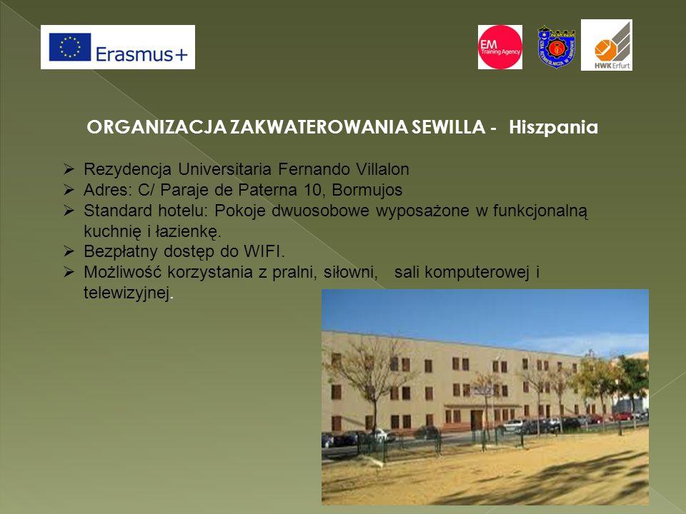 ORGANIZACJA ZAKWATEROWANIA SEWILLA - Hiszpania  Rezydencja Universitaria Fernando Villalon  Adres: C/ Paraje de Paterna 10, Bormujos  Standard hotelu: Pokoje dwuosobowe wyposażone w funkcjonalną kuchnię i łazienkę.